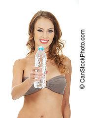 mulher, soutien, water.