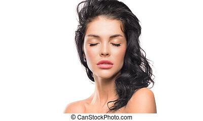 mulher, spa beleza, concept., fechado, pele, retrato, eyes., cuidado