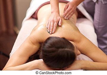 mulher, spa, tendo, massagem, gel