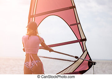mulher, sportman, superfície, pôr do sol, mar, tempo, windsurfer