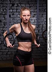 mulher, sporty, aneisél ginásticos, jovem, exercitar, gym., crossfit