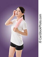 mulher, sporty, asiático