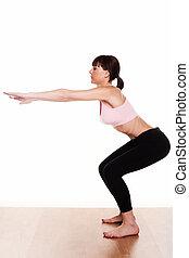 mulher, squat, exercício