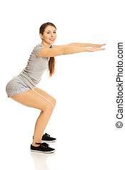 mulher, squats
