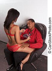 mulher, striper, jovem, seduzir, preto vermelho, homem