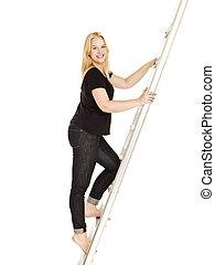 mulher, subindo, a, escada