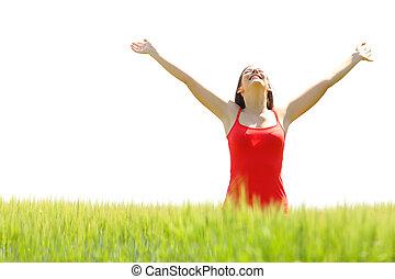 mulher, sucesso, celebrando, braços, campo, levantamento, feliz