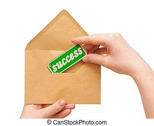 mulher, sucesso, envelope, passe segurar, correio, mensagem
