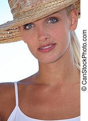 mulher, summer's, jovem, atraente, retrato, dia