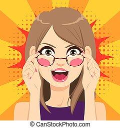 mulher, surpreendido, óculos