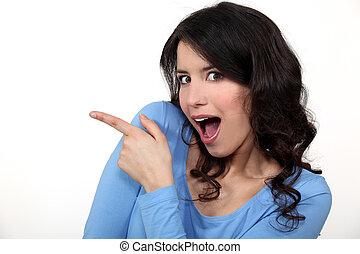 mulher, surpreendido, apontar