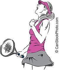 mulher, tênis, doente, vencedor, jogador, menina