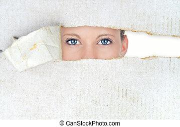 mulher, tímido, escondido, beleza