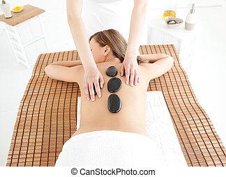 mulher, tabela, atraente, mentindo, massagem