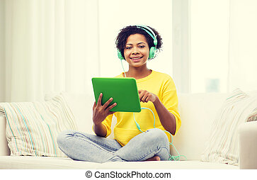 mulher, tabuleta, fones, pc, africano, feliz