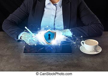 mulher, tabuleta, nuvem, trabalhando, negócio, segurado, tecnologia, conceito