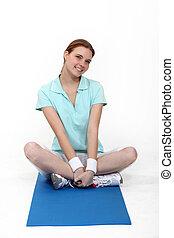 mulher, tapete, exercício, sentando