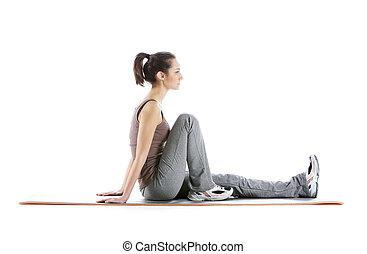 mulher, tapete, fundo, condicão física, branca, exercício