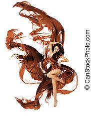 mulher, tecido, dançar, vestido, voando, waving, dançarino, pano, branca, moda