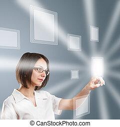 mulher, tecnologia, modernos, trabalhando