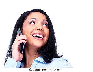 mulher, telefone., chamando