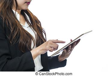 mulher, telefones, negócio, variedade, móvel, tabuleta, computador, usando, dispositivos, esperto, relógios