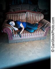 mulher, televisão assistindo, sofá, dormir, enquanto