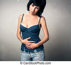 mulher, tem, um, dor estômago