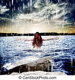 mulher, tempestade, sea.freedom, sob