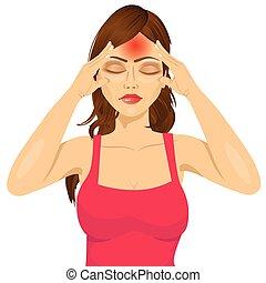 mulher, templos, dela, sofrimento, tocar, dor de cabeça