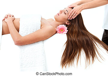 mulher, tendo, cabeça, jovem, massage.