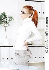mulher, tendo, escritório, backache.