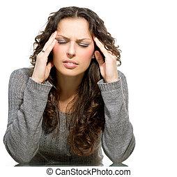 mulher, tendo, headache., doente