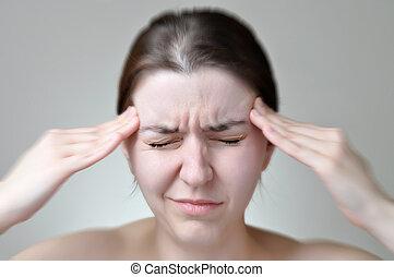 mulher, tendo, jovem, dor de cabeça
