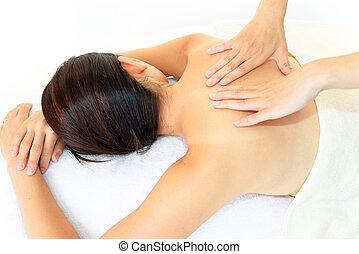 mulher, tendo, massagem