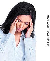 mulher, tendo, um, headache.