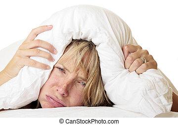 mulher, tentando, dormir