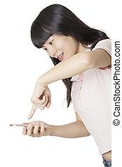 mulher, texto, isolado, envie, telefone, asiático, fundo, usando, mensagem, branca, esperto