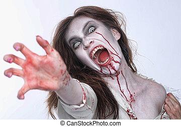 mulher, themed, sangramento, horror, psychotic, imagem