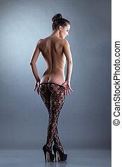 mulher, tights, pelado, posar, sedutor, translúcido