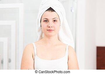 mulher, toalha