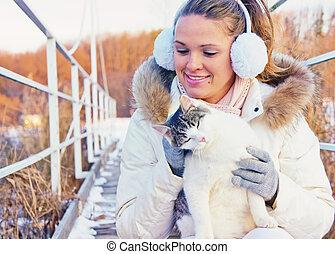 mulher, tocando, com, gato