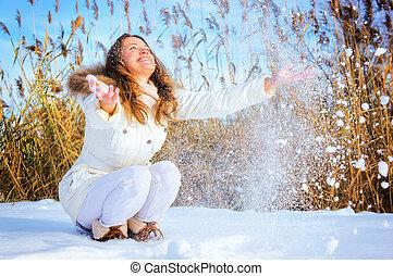 mulher, tocando, com, neve