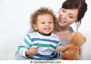 mulher, tocando, dela, criança