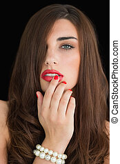 mulher, tocar, dela, lábios, vermelho