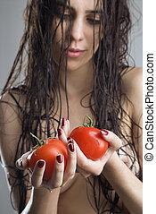 mulher, tomatoes., segurando