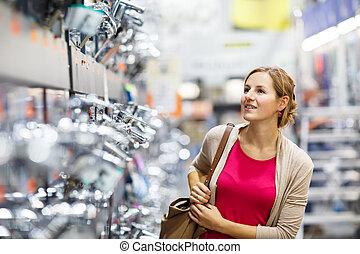 mulher, torneira, bonito, jovem, escolher, bathroom/kitchen