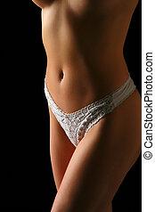 mulher, torso, em, calças brancas