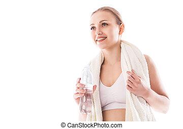 mulher, towel., água, desgaste, garrafa, condicão física
