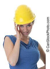 mulher, trabalhador, jovem, contratante, construção,...